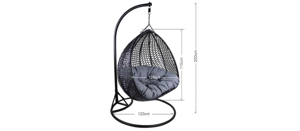 Thelma Cocoon Swing Chair Grey Cushion (OPEN BOX)