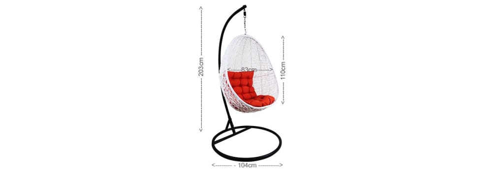 White Cocoon Swing Chair Orange Cushion