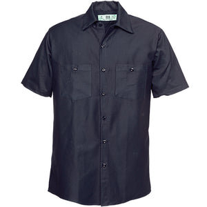 100%  COTTON INDUSTRIAL SHORT SLEEVE WORK MIDNIGHT NAVY 521