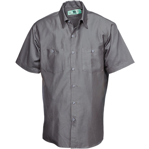100%  COTTON INDUSTRIAL SHORT SLEEVE WORK SHIRT GRAPHITE GRAY 584