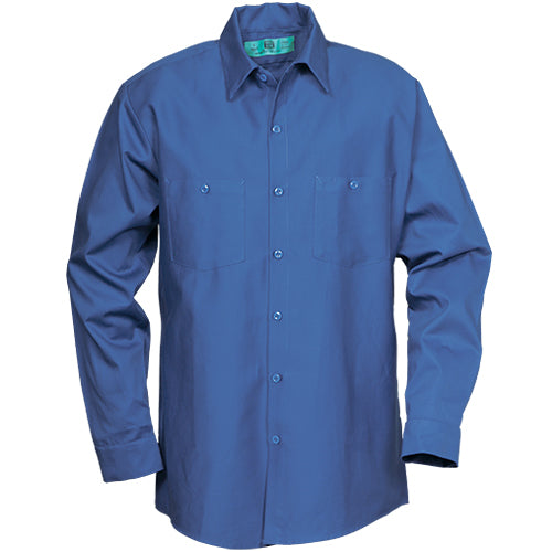 100%  COTTON INDUSTRIAL LONG SLEEVE WORK SHIRT POSTAL BLUE 5882