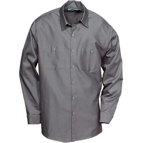 100%  COTTON INDUSTRIAL LONG SLEEVE WORK SHIRT GRAPHITE GRAY 5884