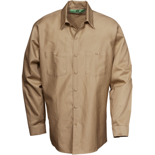 100%  COTTON INDUSTRIAL LONG SLEEVE WORK SHIRT KHAKI 5888