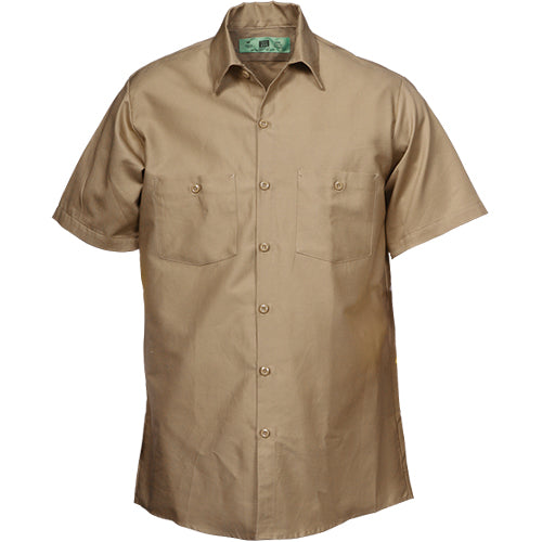100%  COTTON INDUSTRIAL SHORT SLEEVE WORK KHAKI 588