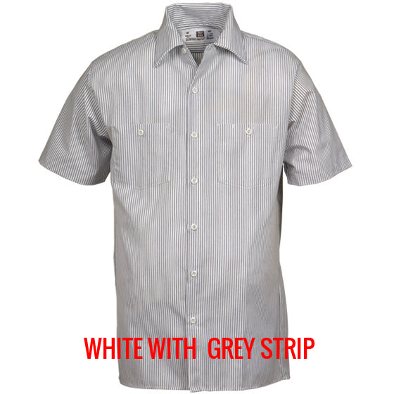 Reed SoftTouch Industrial Work Shirt White/Grey Pinstripe 40