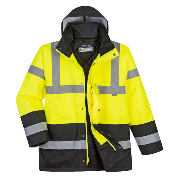 PORTWEST® Hi-Vis Contrast Traffic JacketC YELLOW/BLACK US466