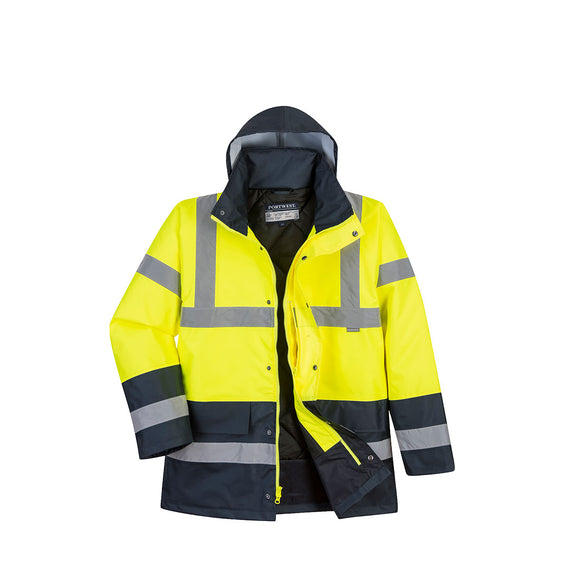 PORTWEST® Hi-Vis Contrast Traffic Jacket YELLOW/NAVY US466