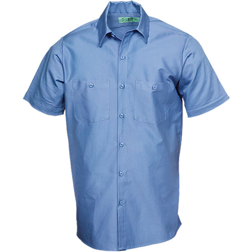 100%  COTTON INDUSTRIAL SHORT SLEEVE WORK SHIRTS LIGHT BLUE 583