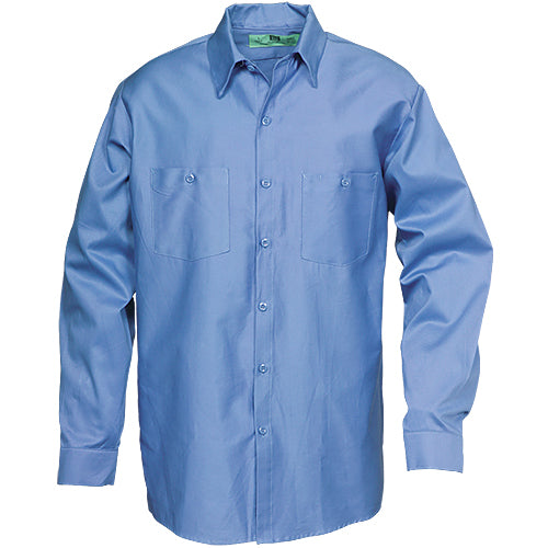 100%  COTTON INDUSTRIAL LONG SLEEVE WORK SHIRT LIGHT BLUE 5883