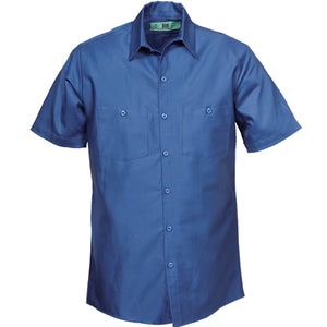 100%  COTTON INDUSTRIAL SHORT SLEEVE WORK SHIRTS POSTAL BLUE 582