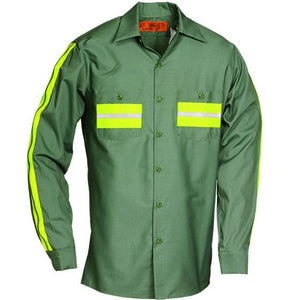 Enhanced Visibility Long Sleeve Shirt Lt Green with Yellow 6228WM