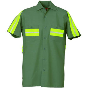Enhanced Visibility Short Sleeve Shirt Lt Green with Yellow 628WM