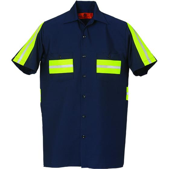 Enhanced Visibility Short Sleeve Shirt Navy with Yellow 100% COTTON 581WM