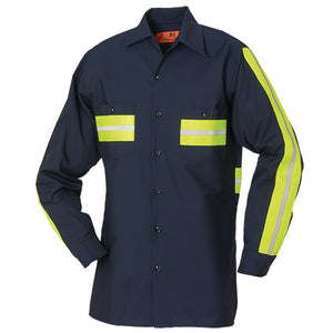 Enhanced Visibility Long Sleeve Shirt Navy with Yellow 65/35 6221WM