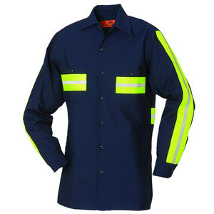 Enhanced Visibility Long Sleeve Shirt Navy with Yellow 100% COTTON 5881WM