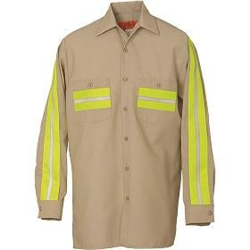 Enhanced Visibility Long Sleeve Shirt Tan with Yellow 6239WM