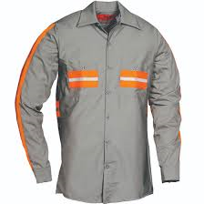 Enhanced Visibility Long Sleeve Shirt Lt Grey with Orange 6234ZWM