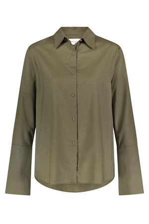 Husband Shirt Linen Olive/Gunmetal - Personalized Thumbnail
