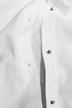 The Husband Shirt Linen with Gold Studs
