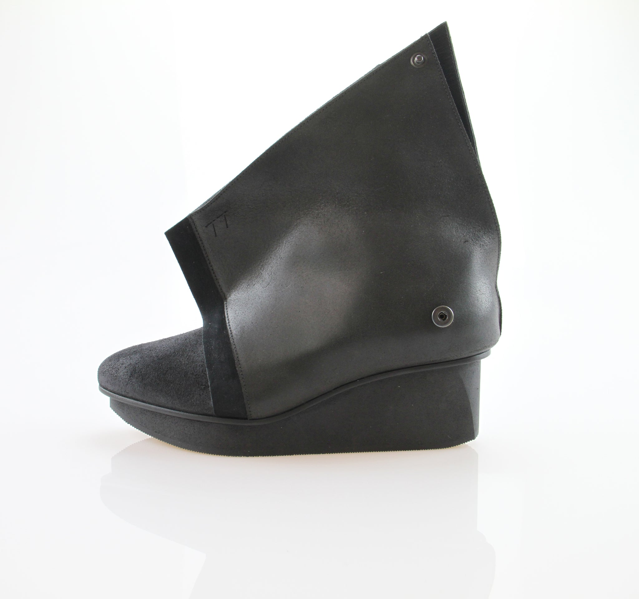 TRIPTYCH WOMEN'S BLACK LEATHER WEDGE ANKLE BOOT