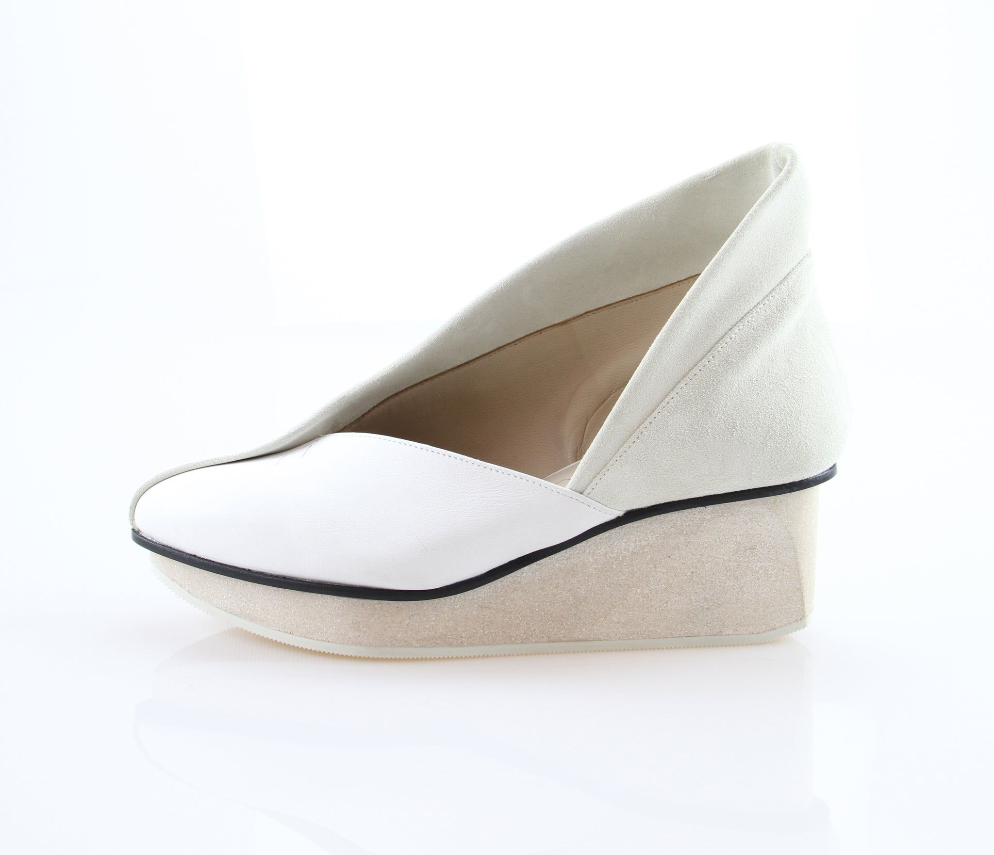 TRIPTYCH WOMEN'S WHITE LEATHER WEDGE SHOE