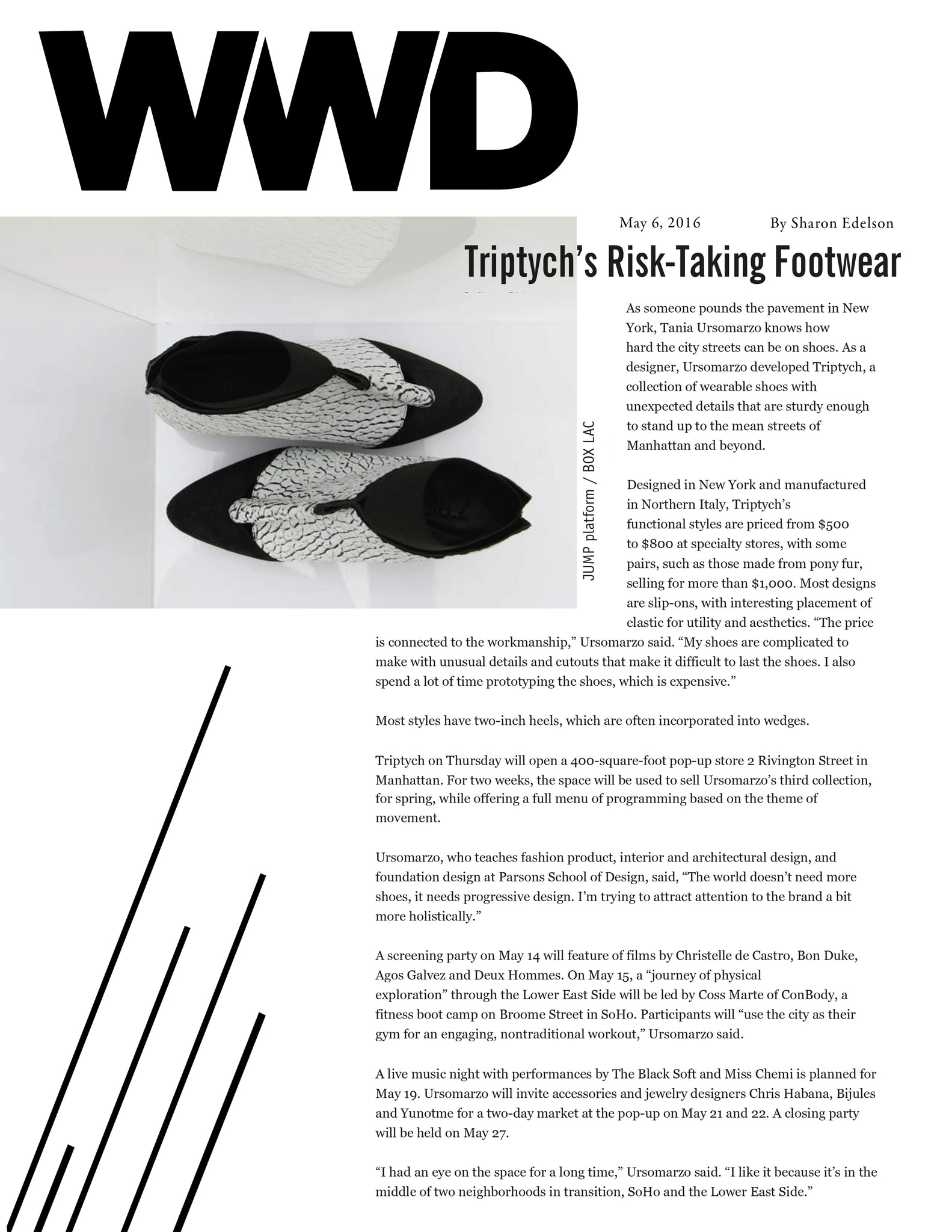 TRIPTYCH FOOTWEAR FEATURED IN WWD