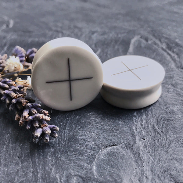 "The Cross of Elements Plugs - 2g (6.5mm) through 1"" (25mm)"