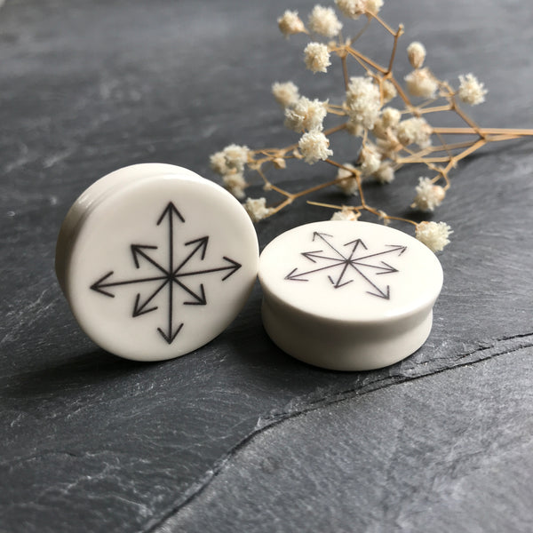 "Symbol of Chaos Plugs - 2g (6.5mm) through 1"" (25mm)"