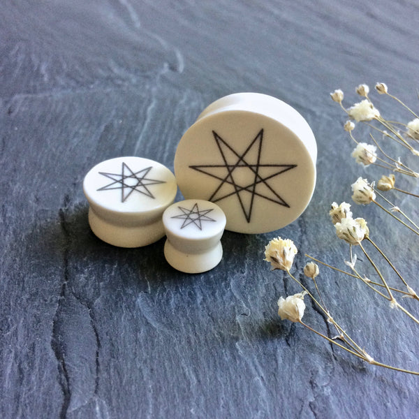 "Faerie Star (Septagram) Plugs - 2g (6.5mm) through 1"" (25mm)"