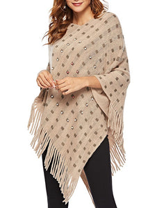 Beaded Asymmetrical Fringed Cape Sweater - The Read and Shade Store