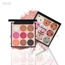 Load image into Gallery viewer, UBUB 9 Colors Eye Shadow Palette Shimmer Pigment Glitter Eyeshadow Korean Cosmetics Makeup Set Nude Earth Color Matte Eyeshadows - The Read and Shade Store
