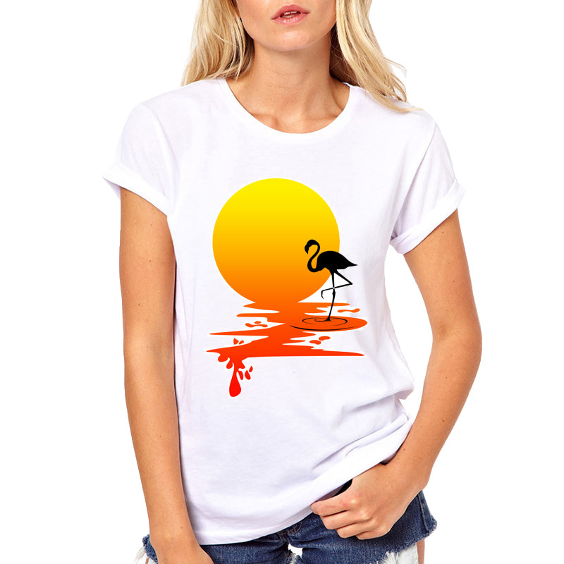 2018 Summer Fashion Casual Top Women's T-shirt Flamingos&Sunset Printed Tee Women White Female T-shirts - The Read and Shade Store