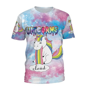 Women Unicorn Galaxy Space 3D Printed T-Shirt