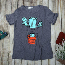 Load image into Gallery viewer, Vessos Cactus FREE HUGS Letter Print Women's T-Shirt Dark Gray Women's Polyester Short Sleeve Top Youth Girl's T-Shirt