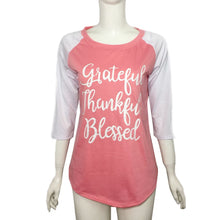 Load image into Gallery viewer, Womens  Blouse Fashion Thankful Grateful Blessed Baseball T-Shirt - The Read and Shade Store