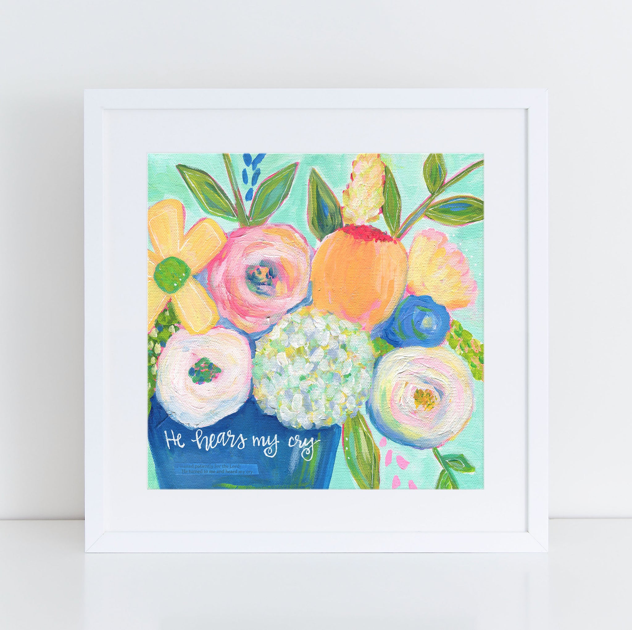 "Art print: ""He hears me"" Aqua Blue multi colored floral bouquet"