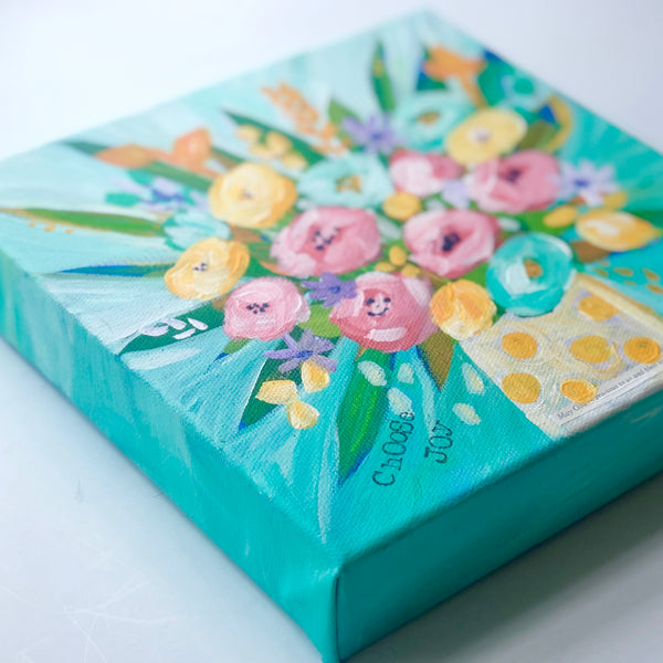 Choose Joy Original Sunny Flower Bouquet. 8x8 Inches.