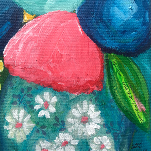 Navy and Pink Abstract flower painting. 8x8 Inches.
