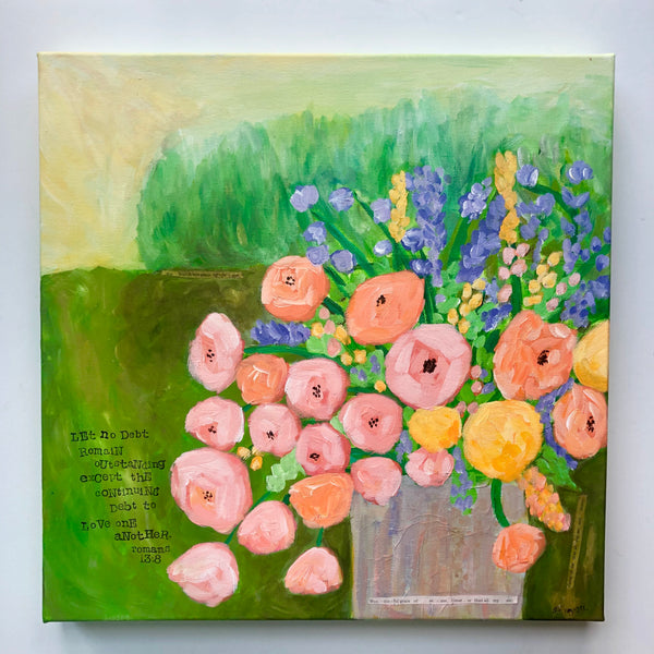Debt of Love Flower Painting. 16x16 inches.