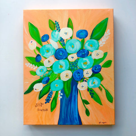 Joy Seeker Orange and Navy Original Floral Painting. 11x14 inches.