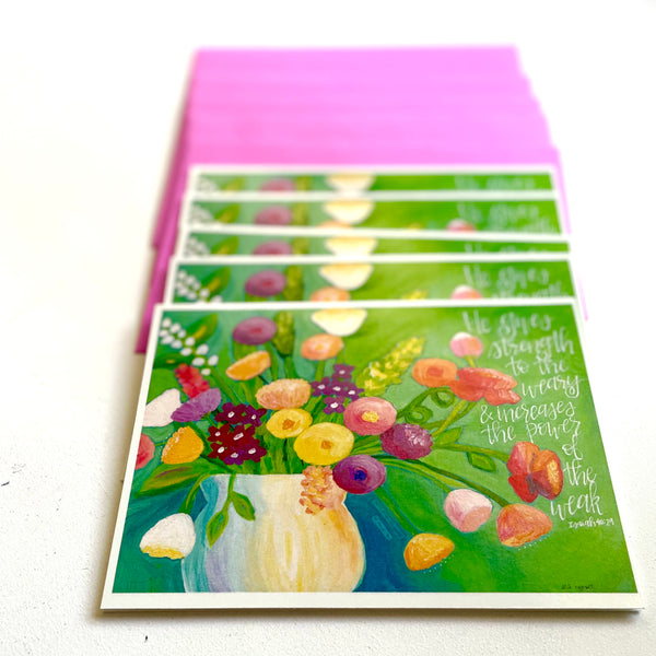Strength to the Weary Floral Bouqet Note Card