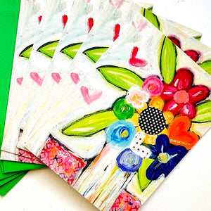 Rainbow Colored Floral Bouquet Note card