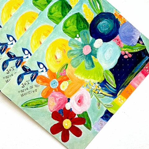 Joy Comes in the Morning Rainbow Flower Note card