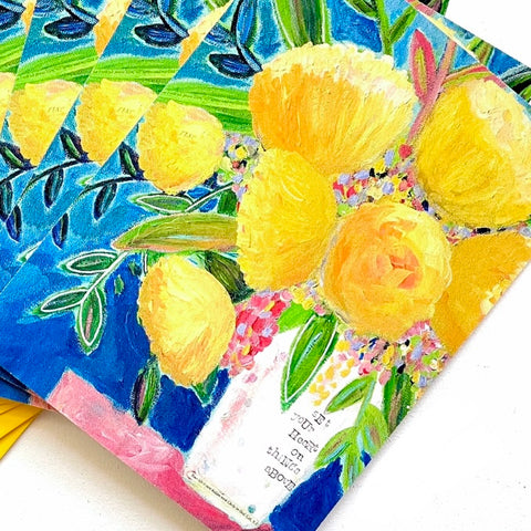 Yellow and Navy Floral Note card