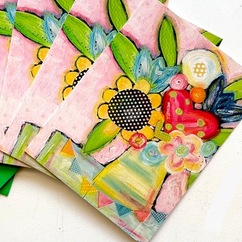 Pink Sunflower Flower Bouquet Note card