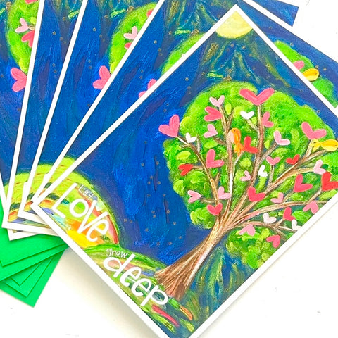 Let Love Grow Deep Whimsical Tree Note Card