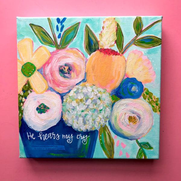 """Hearing"" Original Multi colored Whimsical Floral Bouquet on 10x10 inch canvas"
