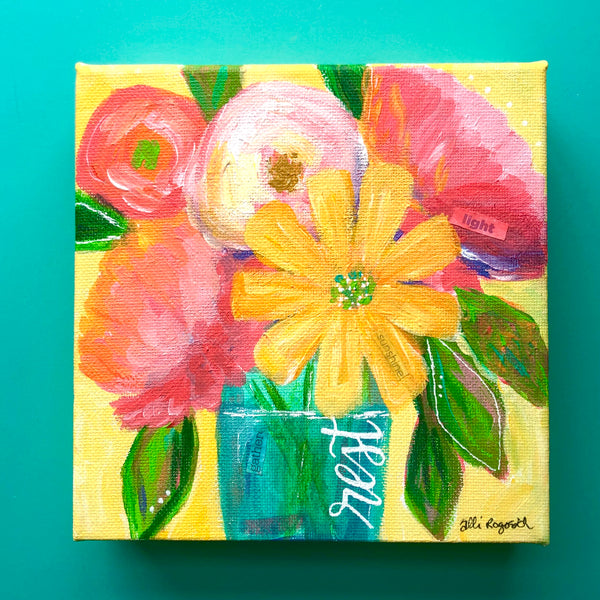 """Rest"" Original Yellow Multi colored Floral Bouquet 6x6 inches"