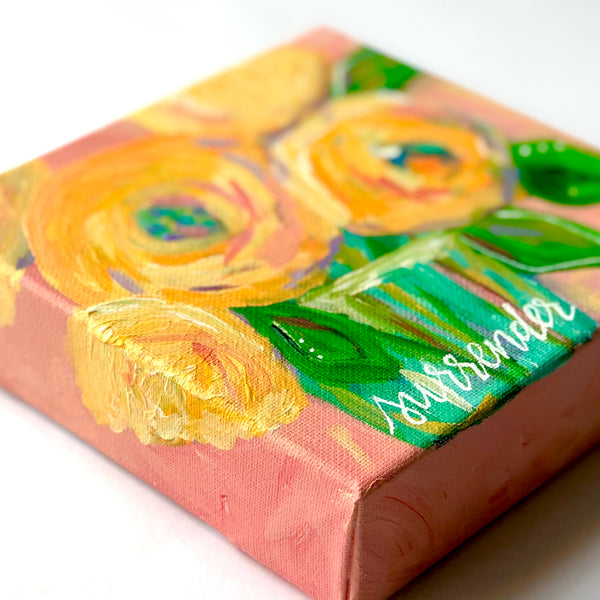 """Surrender"" Original Pink and Yellow Floral Bouquet painting 6x6 inches"