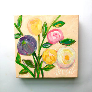 """Loved"" Light Pink Original Floral Painting 8x8 inches"